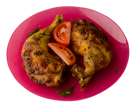 chicken legs with vegetables on a plate. leg of vegetables isolated on white background. tasty food