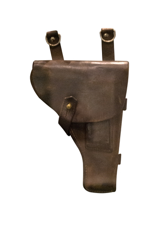 pistol holster isolated on white background. leather holster. Stok Fotoğraf