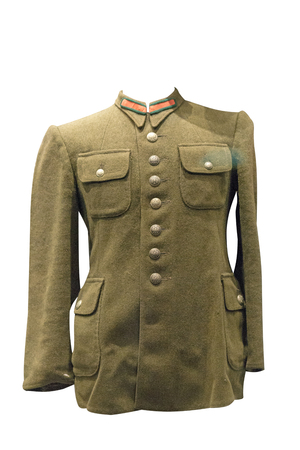 officer uniform of soviet army isolated on white background. jacket of an officer of the Second World War
