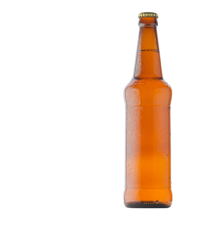 Beer  bottle isolated on white background. Beer bottle with water drops . 版權商用圖片
