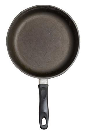 casserole de fer vide avec isolé sur fond blanc. vue de dessus de la poêle à griller. vue de face Banque d'images