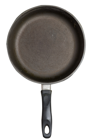 empty iron pan with isolated on white background. top view of grill pan. front view Standard-Bild