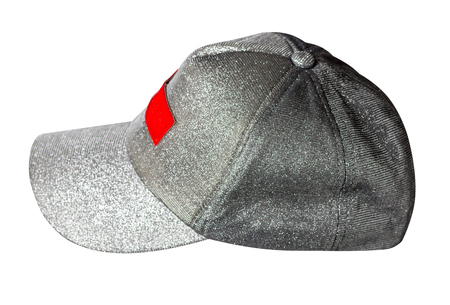 gray hat isolated on white background. Hat with a visor  side view.
