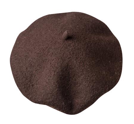 Boina aislado sobre fondo blanco. Vista posterior de la boina femenina del sombrero. Foto de archivo