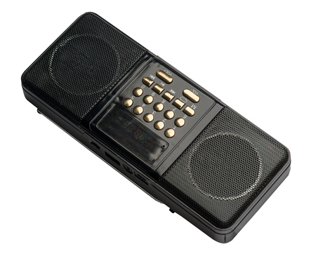 Pocket FM radio mp3 player isolated on a white background. black rado front ,side ,top view
