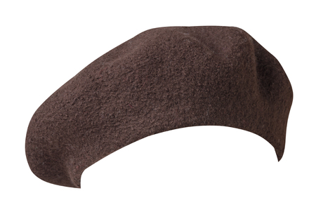Beret isolated on white background. Hat female beret  front side view. 写真素材