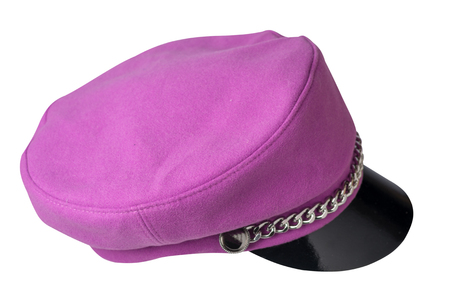 fashion hat  with  visor isolated on white background. colored hat  side view.