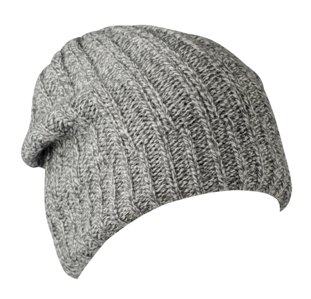 hat isolated on white background .knitted hat front side vew .