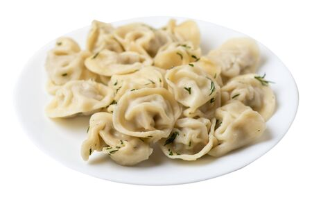 dumplings on a white plate isolated on white background Banco de Imagens