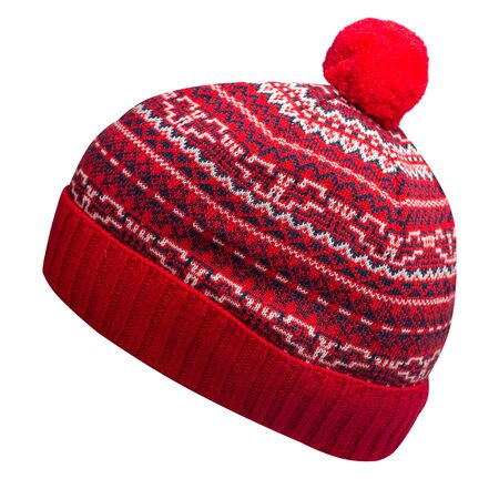 knitted hat isolated on white background.