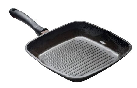 empty black grill iron pan with isolated on white background. Imagens