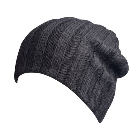 black  hat isolated on white background .knitted hat front side view . Standard-Bild