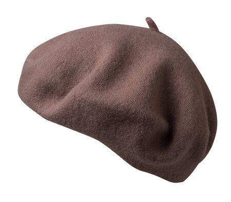 brown beret isolated on white background. hat female beret side view .
