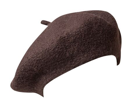 brown beret isolated on white background. hat female beret front view . Banque d'images