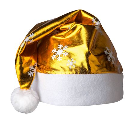 Santa Claus gold  hat isolated on white background .Santa Claus  hat that is for wearing on Christmas Day.beautiful hatn Santa 版權商用圖片