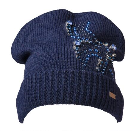 Women's blue hat front side view . knitted hat with rhinestones isolated on white background. Archivio Fotografico