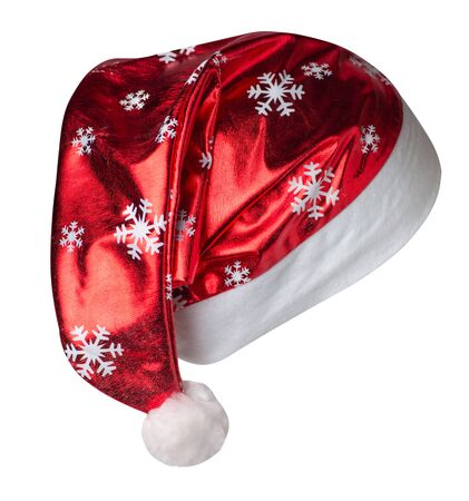 Santa Claus red hat isolated on white background .Santa Claus hat that is for wearing on Christmas Day.beautiful hatn Santa with painted snowflakes side vew