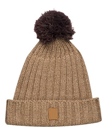 knitted light brown hat isolated on white background.hat with pompon front  top view .