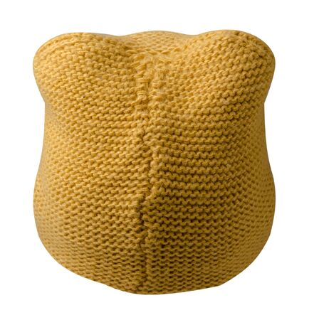 Womens yellow hat back view. knitted hat isolated on white background.