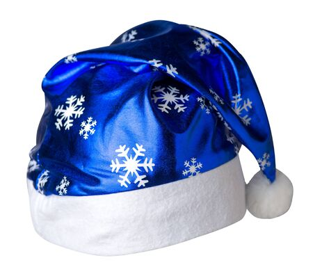 Santa Claus blue hat isolated on white background .Santa Claus  hat with snowflakes that is for wearing on Christmas Day.beautiful hatn Santa front side view Imagens