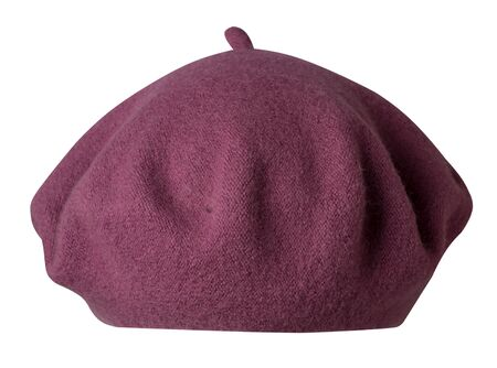 dark red beret isolated on white background. hat female beret front view .