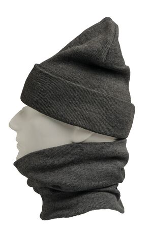 gray hat and scarf isolated on white background.knitted set of hats and scarf.winter accessories side view