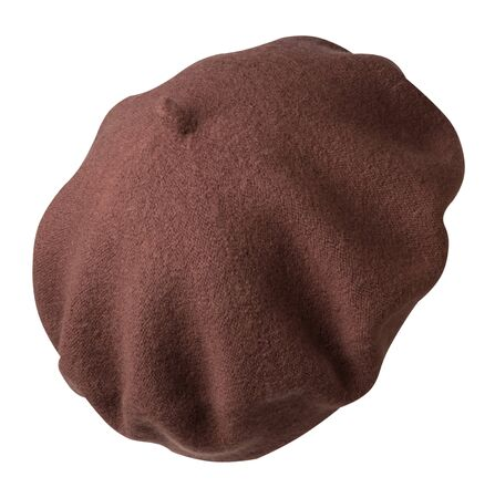 brown beret isolated on white background. hat female beret back side view . Фото со стока