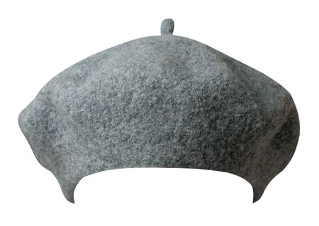 gray beret isolated on white background. hat female beret front view.