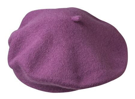 purple beret isolated on white background. hat female beret top side back  view.