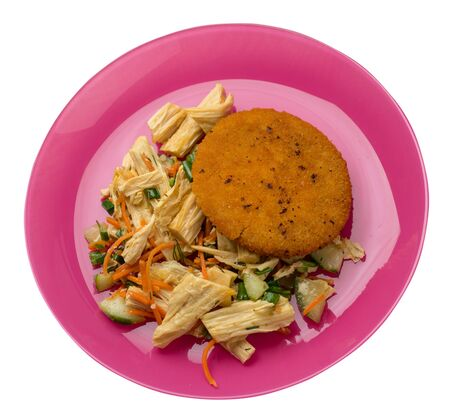 fishcake with soy asparagus and carrots, cucumbers and dilll.  fish cutlet on a pink plate isolated.fish cutlet with vegetables top side view Stockfoto