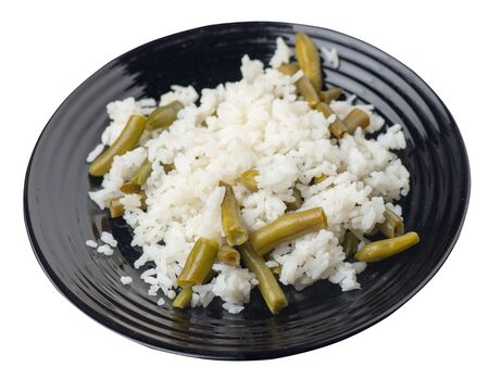 rice with asparagus beans on a black plate isolated  on white background .healthy food . vegetarian food top side  view. Asian cuisine