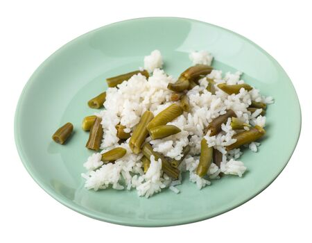 rice with asparagus beans on a llight green plate isolated  on white background .healthy food . vegetarian food top side  view. Asian cuisine