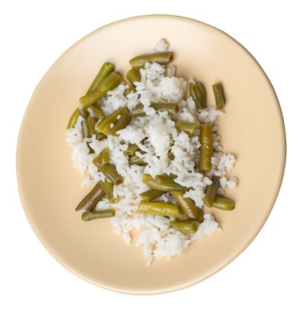 rice with asparagus beans on a llight brown plate isolated  on white background .healthy food . vegetarian food top side  view. Asian cuisine