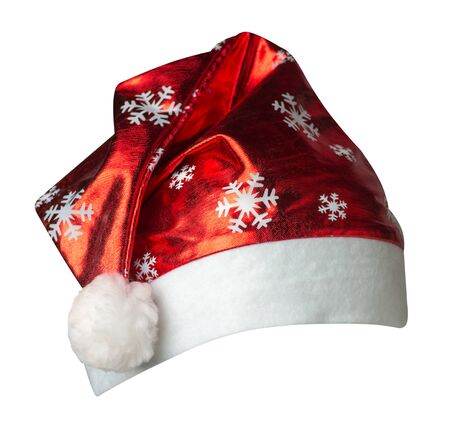 Santa Claus  hat isolated on white background .Santa Claus  hat with snowflakes drawing  that is for wearing on Christmas Day.beautiful hatn Santa front view Stockfoto