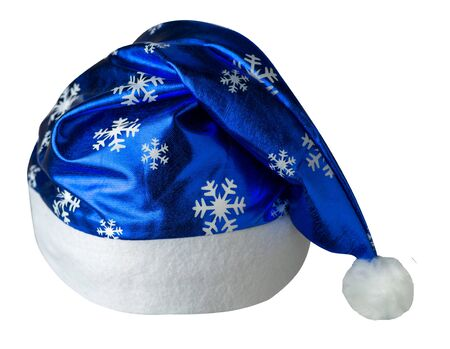 Santa Claus  blue hat isolated on white background .Santa Claus  hat with snowflakes drawing  that is for wearing on Christmas Day.beautiful hatn Santa top front view Stockfoto