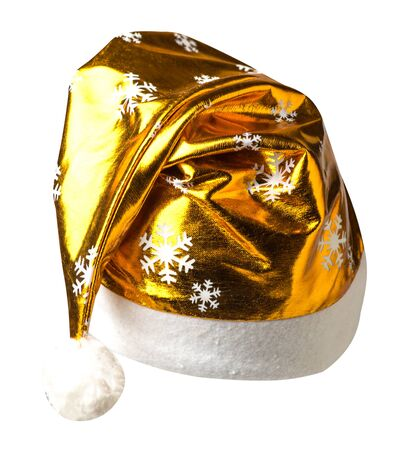 Santa Claus gold hat isolated on white background .Santa Claus hat that is for wearing on Christmas Day.beautiful hatn Santa