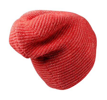 Women's red hat back side view . knitted hat isolated on white background. Stock Photo