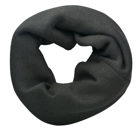 dark gray scarf isolated on white background.scarf top view .