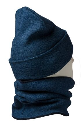 blue hat and scarf isolated on white background.knitted set of hats and scarf.winter accessories back side view Banque d'images - 129862305