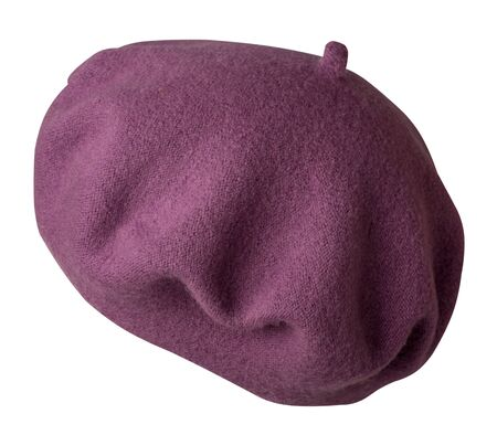 Violet beret isolated on white background. hat female beret  side view . Banque d'images
