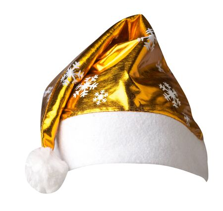 Santa Claus gold  hat isolated on white background .Santa Claus  hat with snowflakes that is for wearing on Christmas Day.beautiful hatn Santa front side view