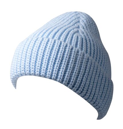 Women's light blue hat front side view. knitted hat isolated on white background. Stock Photo