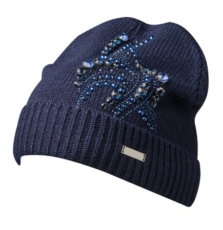 Women's blue  hat side view. knitted hat isolated on white background.