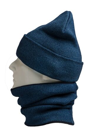 blue hat and scarf isolated on white background.knitted set of hats and scarf.winter accessories side view