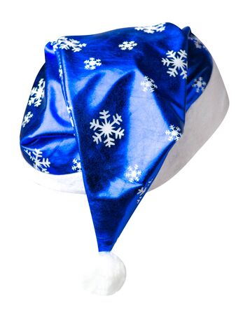 Santa Claus blue  hat isolated on white background .Santa Claus  hat with snowflakes that is for wearing on Christmas Day.beautiful hatn Santa back side view Stock Photo