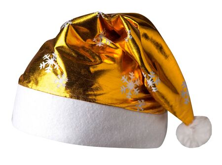 Santa Claus gold hat isolated on white background .Santa Claus hat with snowflakes that is for wearing on Christmas Day.beautiful hatn Santa front side view Stock Photo
