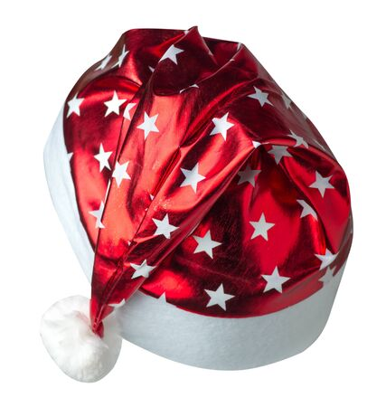 Santa Claus red hat isolated on white background .Santa Claus hat with srars that is for wearing on Christmas Day.beautiful hatn Santa back side view Stock Photo