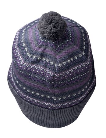 knitted gray purple hat isolated on white background.hat with pompon back view. Foto de archivo - 131334609