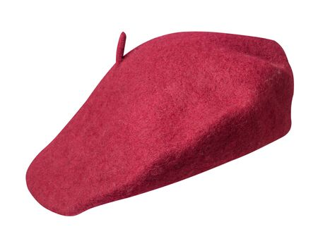 red beret isolated on white background. hat female beret front side view . Фото со стока