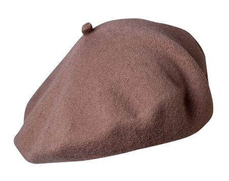 brown beret isolated on white background. hat female beret front side view .